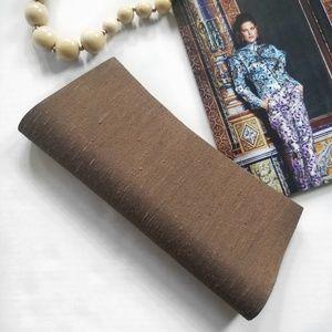 Vintage Shantung Silk Roll Clutch Purse